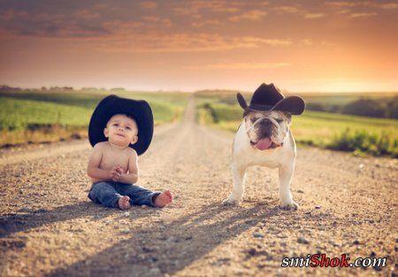 На фото дети и собаки, забавная фотоподборка