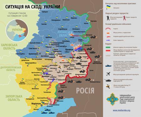 Карта боевых действий на Донбассе за 3 сентября