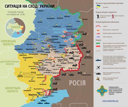Карта боевых действий на Донбассе за 4 сентября