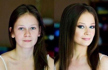 Фотографии девушек до и после макияжа