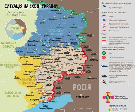 Карта АТО 25 марта. Провокации на всей линии фронта, боеприпасы подвозят вагонами