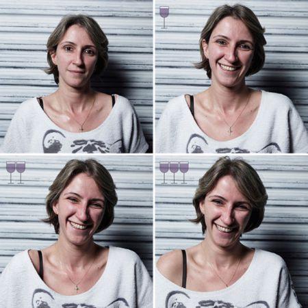 Как лица людей меняются после нескольких бокалов вина