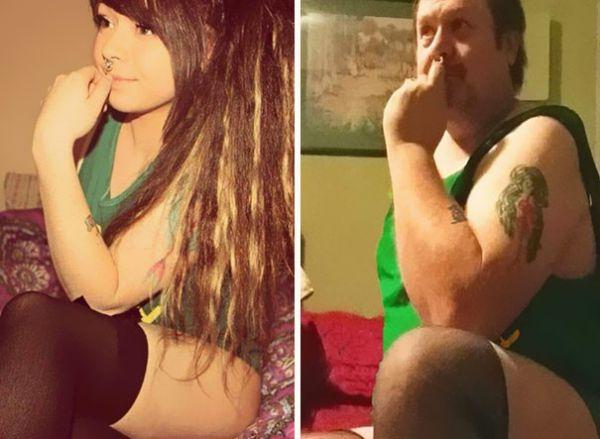 Отец пародирует снимки дочери