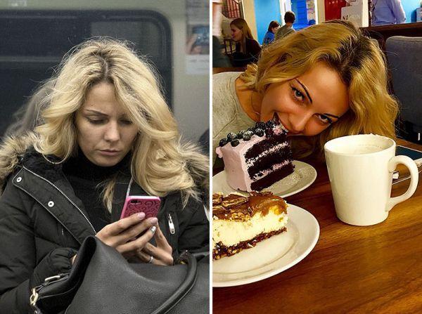 Люди в метро и социальных сетях