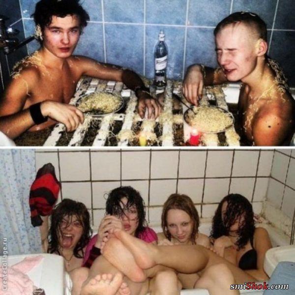Мокрая жесть! Мужчины против женщин в ванной